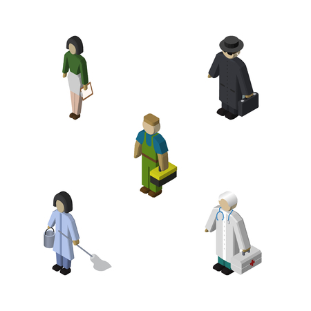 Isometric Person Set Of Detective, Pedagogue, Medic And Other Vector Objects. Also Includes Housekeeper, Technician, Educator Elements. Illustration