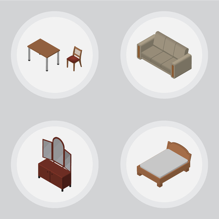 Isometric Furnishing Set Of Chair, Drawer, Couch And Other Vector Objects. Also Includes Table, Sofa, Sideboard Elements. Illustration