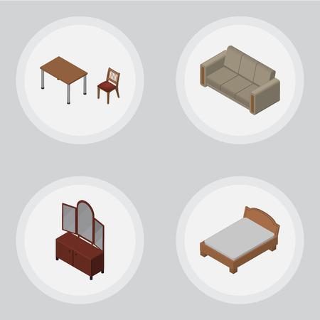 arredamento classico: Set di arredamento isometrico di sedia, cassetto, divano e altri oggetti vettoriali. Include anche tavolo, divano, elementi di credenza.
