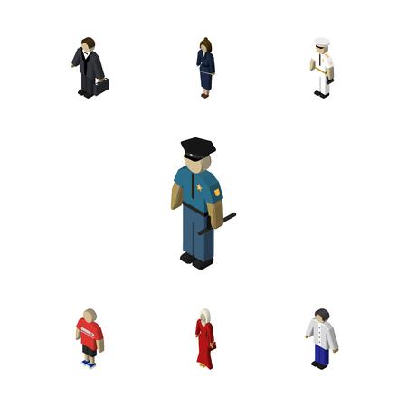 等尺性の人は、役員、男、船員および他のベクトル オブジェクトのセット。人間、マリナー、警官の要素も含まれています。