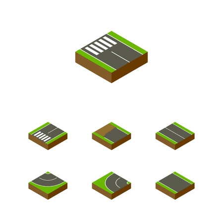 unilateral: Isometric Road Set Of Way, Road, Flat And Other Vector Objects. Also Includes Flat, Unilateral, Plane Elements.