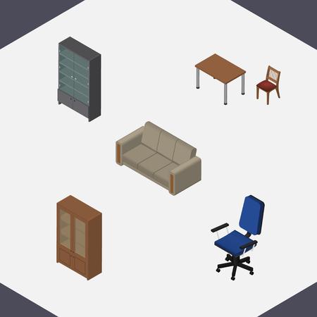 arredamento classico: Set di design isometrico di credenza, armadietto, divano e altri oggetti vettoriali. Include anche tavolo, divano, elementi di ufficio.