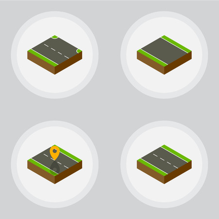 unilateral: Isometric Way Set Of Rightward, Single-Lane, Without Strip And Other Vector Objects. Also Includes Road, Driveway, Strip Elements. Illustration