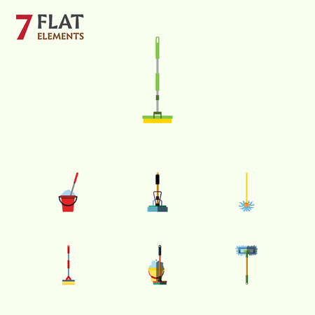 scrubbing: Flat Icon Cleaner Set Of Besom, Broom, Broomstick And Other Vector Objects. Also Includes Sweeper, Cleaning, Broomstick Elements.