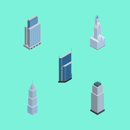Isometric Skyscraper Set Of Residential, Urban, Tower And Other Vector Objects. Also Includes Tower, Urban, Skyscraper Elements.