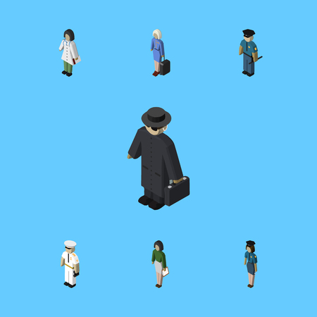 Isometric Person Set Of Officer, Pedagogue, Detective And Other Vector Objects. Also Includes Policewoman, Officer, Mariner Elements. Illustration