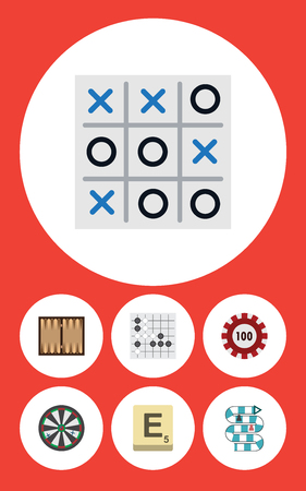 Flat Icon Games Set Of Arrow, Dice, Gomoku And Other Vector Objects. Also Includes Play, Dice, Poker Elements.