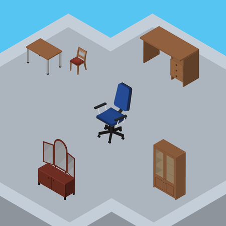 Isometric Design Set Of Office, Cabinet, Table And Other Vector Objects. Also Includes Cupboard, Mirror, Table Elements.
