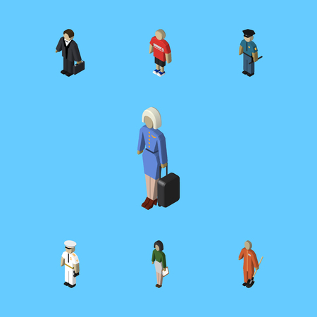 Isometric Human Set Of Seaman, Cleaner, Hostess And Other Vector Objects. Also Includes Investor, Builder, Hostess Elements. Illustration