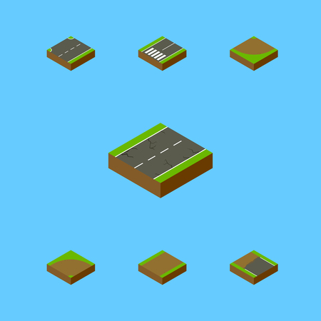 Isometric Way Set Of Incomplete, Upwards, Footpassenger And Other Vector Objects. Also Includes Up, Road, Sand Elements. Illustration