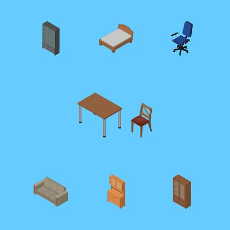 arredamento classico: Set di design isometrico di letto, ufficio, credenza e altri oggetti vettoriali. Include anche letto, sedie, elementi di poltrona. Vettoriali