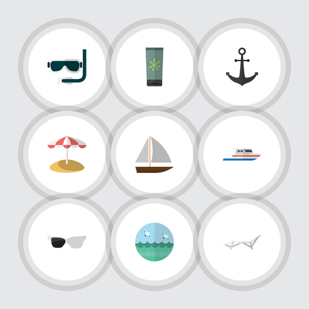 moisturizer: Flat Icon Summer Set Of Deck Chair, Scuba Diving, Moisturizer And Other Vector Objects. Also Includes Boat, Cream, Beach Elements.