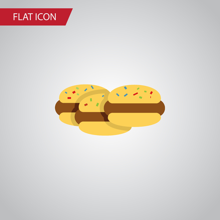 Isolated Cookies Flat Icon. Biscuit Vector Element Can Be Used For Cookie, Shortcake, Biscuit Design Concept. Illustration
