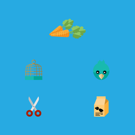 Flat Icon Animal Set Of Shears, Root Vegetable, Nutrition Box And Other Vector Objects. Also Includes Cage, Sparrow, Box Elements.