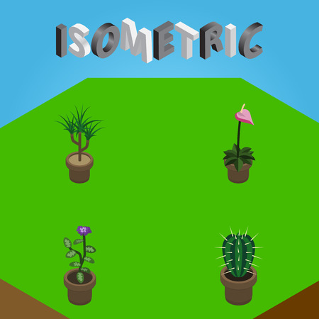 Isometric Flower Set Of Flower, Grower, Houseplant And Other Vector Objects. Also Includes Flowerpot, Flower, Cactus Elements. Illustration