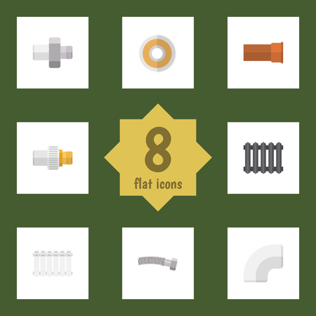 Flat Icon Industry Set Of Roll, Plastic, Corrugated Pipe And Other Vector Objects. Also Includes Tape, Radiator, Roll Elements.