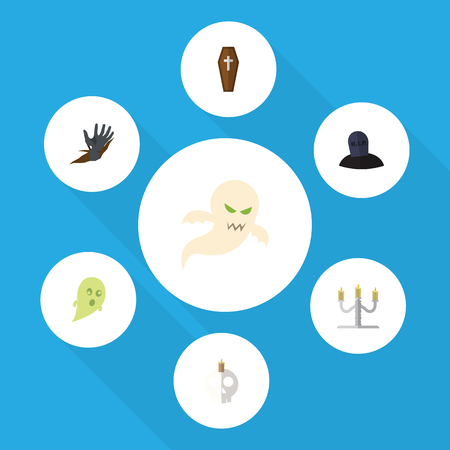 Flat Icon Celebrate Set Of Candlestick, Phantom, Cranium Vector Objects. Also Includes Specter, Casket, Corpse Elements. Illustration