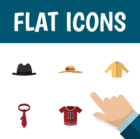 Flat Icon Garment Set Of T-Shirt, Elegant Headgear, Panama And Other Vector Objects. Also Includes Tie, Fedora, Woman Elements. Illustration
