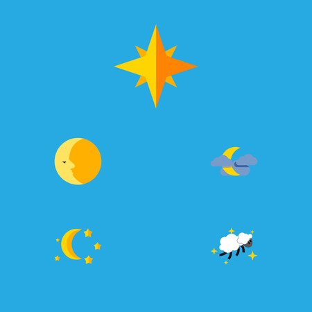 Flat Icon Night Set Of Bedtime, Lunar, Asterisk And Other Vector Objects. Also Includes Twilight, Lunar, Night Elements. Illustration