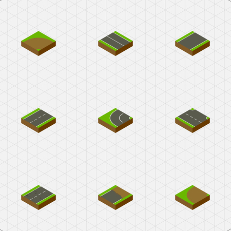 unilateral: Isometric Road Set Of Driveway, Unfinished, Turning And Other Vector Objects. Also Includes Rightward, Turn, Strip Elements. Illustration