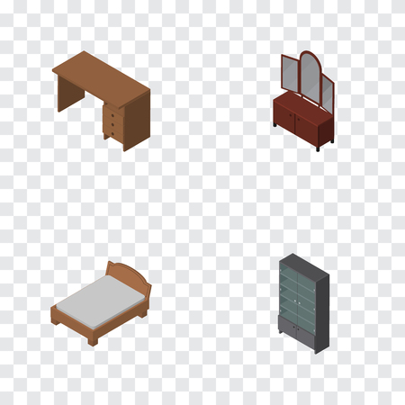 bedstead: Isometric Design Set Of Drawer, Sideboard, Table And Other Vector Objects. Also Includes Furniture, Drawer, Mirror Elements.