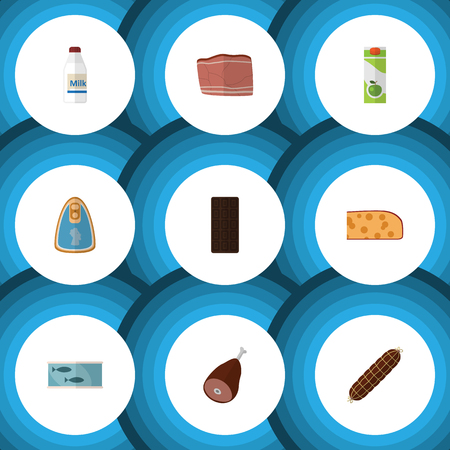 chunk: Flat Icon Meal Set Of Beef, Tin Tuna, Confection And Other Vector Objects. Also Includes Bar, Chicken, Beef Elements.
