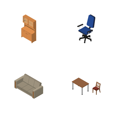 arredamento classico: Isometric Furniture Set Of Couch, Cupboard, Chair And Other Vector Objects. Also Includes Couch, Table, Chair Elements. Vettoriali