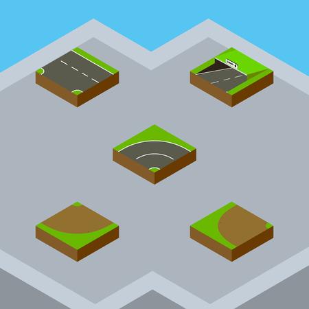等尺性方法は、ビチューメン、順番に、地下鉄と他のベクトル オブジェクトのセット。ターンダウン、砂の要素も含まれています。  イラスト・ベクター素材
