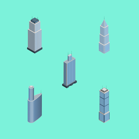 Isometric Skyscraper Set Of Apartment, Business Center, Tower And Other Vector Objects. Also Includes Business, Center, Exterior Elements.