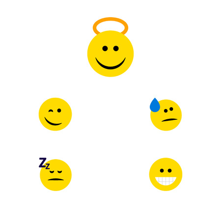 Flat Icon Emoji Set Of Winking, Angel, Grin And Other Vector Objects. Also Includes Cheerful, Emoji, Happy Elements.