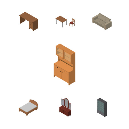 Isometric Design Set Of Table, Couch, Sideboard And Other Vector Objects. Also Includes Drawer, Couch, Bedstead Elements.