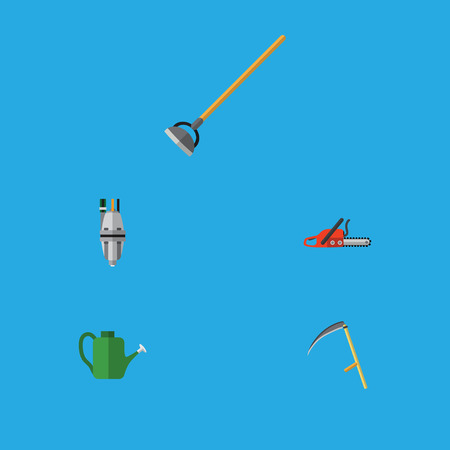 Flat Icon Garden Set Of Tool, Hacksaw, Cutter And Other Vector Objects. Also Includes Hacksaw, Cutter, Watering Elements.