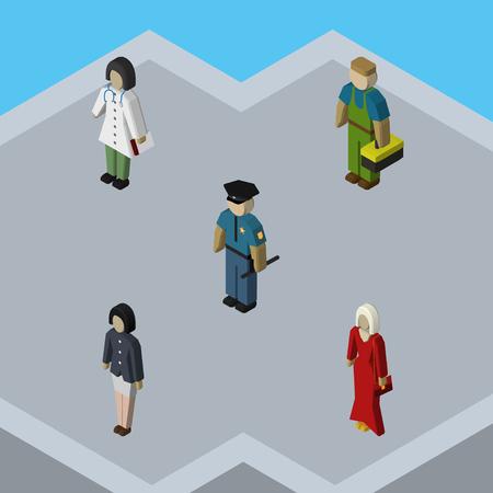 等尺性人配管工、女性、役員と他のベクトル オブジェクトのセットです。また看護師、男、警官の要素が含まれています。  イラスト・ベクター素材