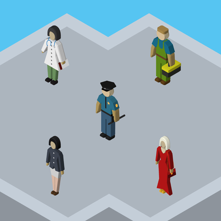 Isometric People Set Of Plumber, Female, Officer And Other Vector Objects. Also Includes Nurse, Guy, Policeman Elements. Illustration