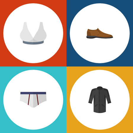 Flat Icon Dress Set Of Underclothes, Male Footware, Brasserie And Other Vector Objects. Also Includes Shoe, Uniform, Bra Elements.
