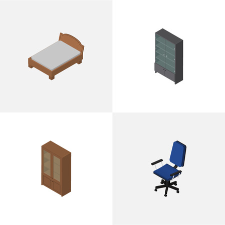 Isometric Furniture Set Of Office, Sideboard, Bedstead And Other Vector Objects. Also Includes Cabinet, Cupboard, Furniture Elements. Illustration