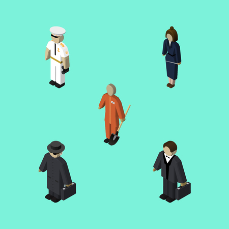 Isometric Human Set Of Businesswoman, Detective, Investor And Other Vector Objects. Also Includes Builder, Seaman, Businessman Elements.