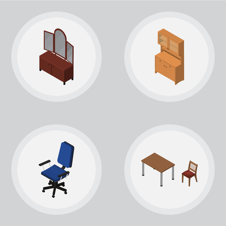 Isometric Furniture Set Of Drawer, Office, Cupboard And Other Vector Objects. Also Includes Armchair, Sideboard, Table Elements.