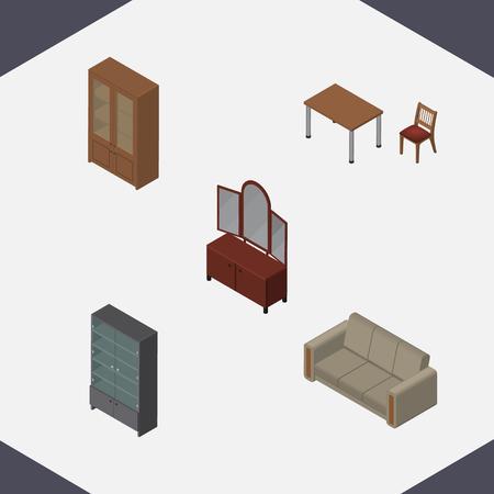 arredamento classico: Set di mobili isometrici di credenza, cassetto, divano e altri oggetti vettoriali. Include anche armadio, armadio, elementi di divano.