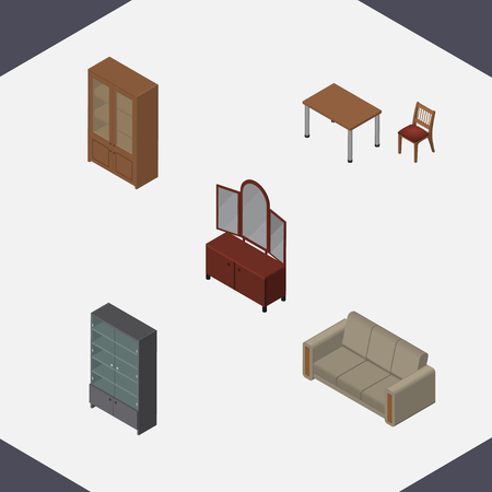 Isometric Furniture Set Of Sideboard, Drawer, Couch And Other Vector Objects. Also Includes Cupboard, Locker, Couch Elements.