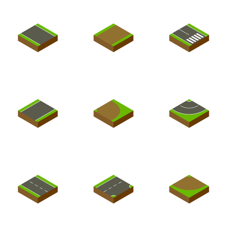 unilateral: Isometric Road Set Of Turn, Rotation, Down And Other Vector Objects. Also Includes Strip, Turn, Rotation Elements. Illustration