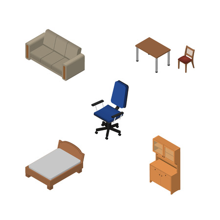 Isometric Furnishing Set Of Cupboard, Chair, Bedstead And Other Vector Objects