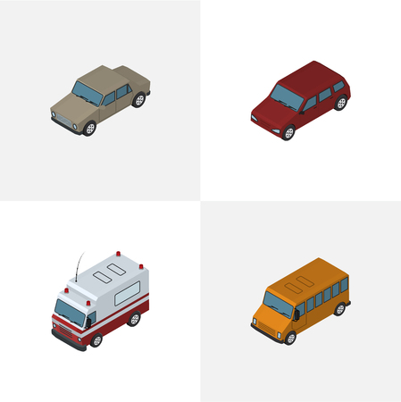 Isometric Automobile Set Of Auto, Autobus, First-Aid And Other Vector Objects