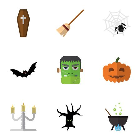 flying coffin: Flat Icon Festival Set Of Terrible Halloween, Magic, Superstition And Other Vector Objects Illustration