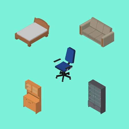 Isometric Furnishing Set Of Couch, Sideboard, Office And Other Vector Objects Illustration