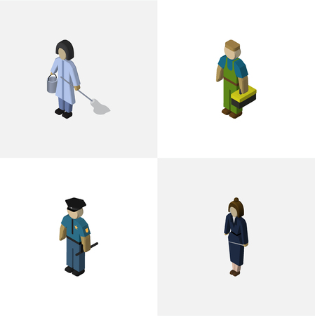 hard: Isometric People Set Of Housemaid, Plumber, Officer And Other Vector Objects Illustration