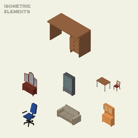 Isometric Furnishing Set Of Office, Couch, Chair And Other Vector Objects.