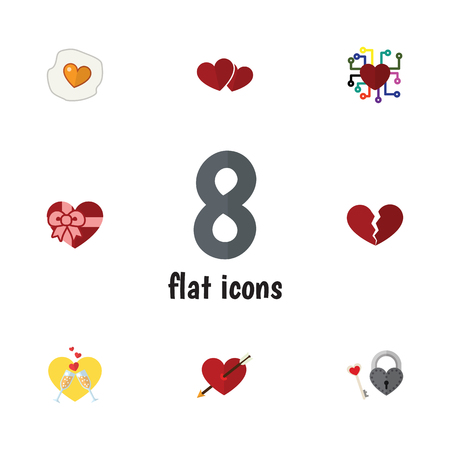 Flat Icon Amour Set Of Divorce, Scrambled, Key And Other Vector Objects Illustration