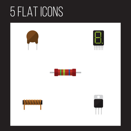 Flat Icon Technology Set Of Receiver, Resistance, Bobbin And Other Vector Objects Illustration