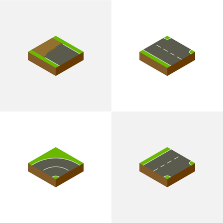 Isometric Way Set Of Rightward, Down, Bitumen And Other Vector Objects Çizim